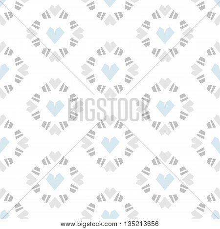 Seamless vector pattern heart tile on white background