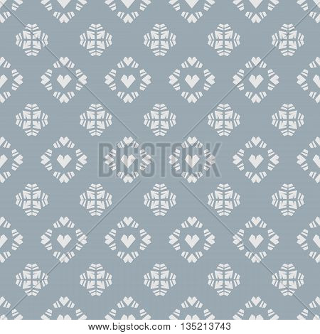 Seamless vector pattern heart tile on blue background