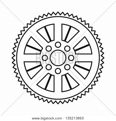 Sprocket from bike icon in outline style isolated on white background