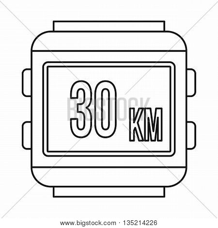 Speedometer bike icon in outline style isolated on white background