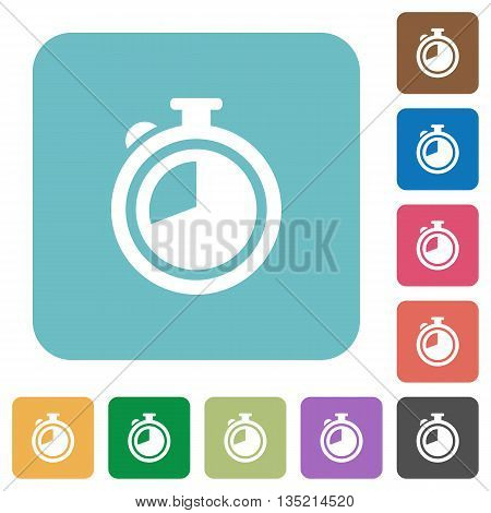 Flat timer icons on rounded square color backgrounds.