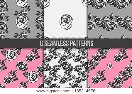 Vintage black and white rose seamless pattern set. Digital paper set. Wrapping paper. Six floral backgrounds