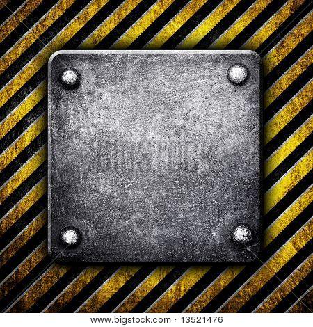 iron plate on stripe pattern background