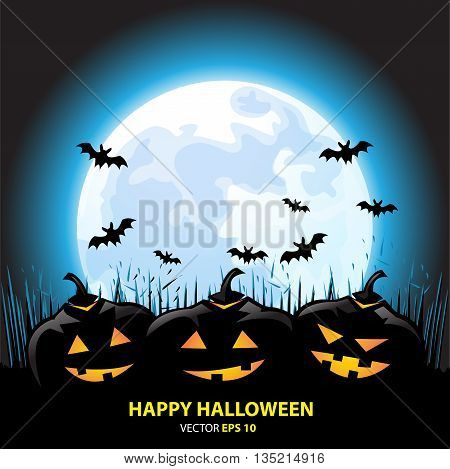 Happy Halloween holiday festival pumpkin background vector illustration.