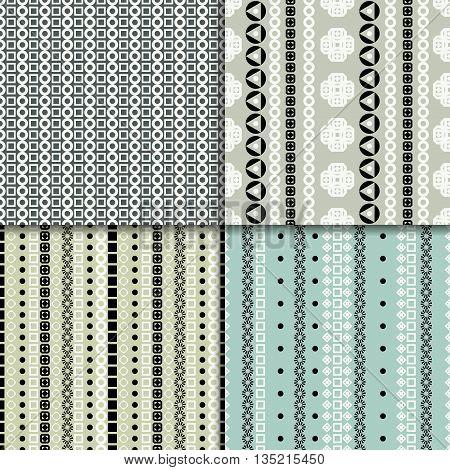 Geometric abstract seamless pattern set. Four seamless patterns.