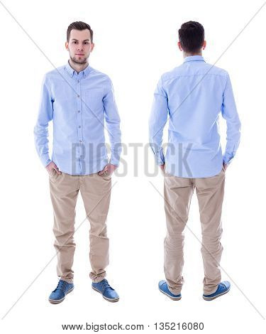 Front And Back View Of Young Man Isolated On White