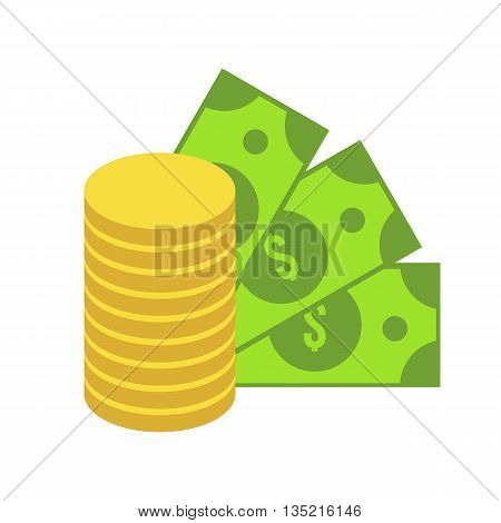 Dollar and money isolated icons. Stack of coins, green banknote. Sign of finance. Flat money vector icon. Business symbol. Cash icon. Bank investment illustration