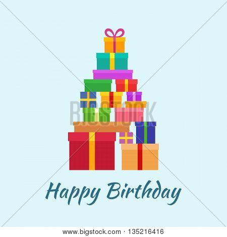 Happy Birthday card with the stack of gifts. Greeting card in a flat design.
