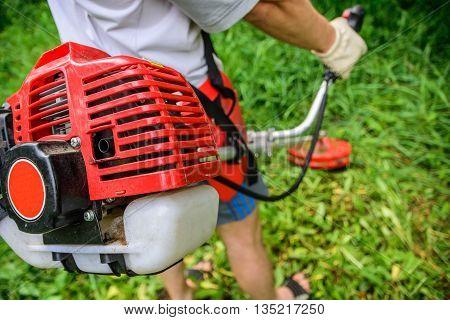 Man Mows A Lawn Mower In The Garden