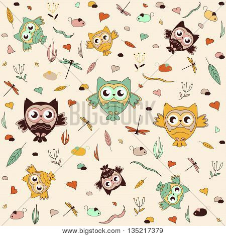 Seamless vector pattern, children's pattern of owlets, pattern fills, background of web page, surface textures, fabric