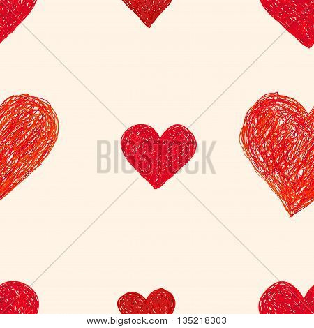 Hand-drawn doodle seamless pattern with hearts. Red heart vector background. Digital paper