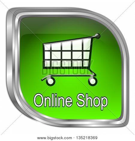 decorative green online Shop Button - 3D illustration