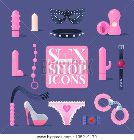 Sex shop vector icons, symbols set. Sex toys concept