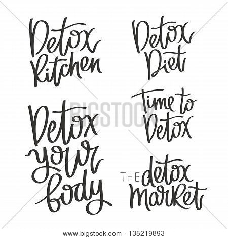Set of calligraphy on a detox. Time to detox. Detox your body. Diet food and market. The trend calligraphy. Vector illustration on white background. The concept of healthy eating.