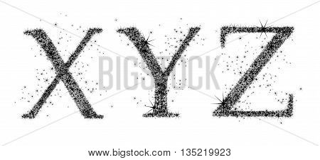 three black capital letters on a white background