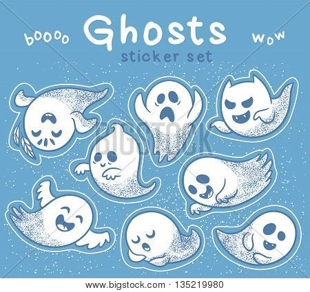 Collection stickers of cute spooky ghosts on blue background. Halloween set with ghosts child drawing style. Ghosts with Different Expressions