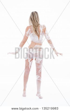 Woman Wrapped In Transparent Film