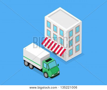 Isometric building and lorry car design. Transport and transportation cargo isometric, delivery vehicle industrial, automobile and warehouse or storage isolated on background. Vector illustration