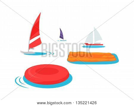 Summer swimming accessories flat design. Inflatable mattress and a circle floating in the sea or ocean. Boat with a sail isolated on white background. Vacation travel holiday. Vector illustration