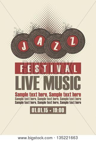 Musical poster depicting jazz festival vinyl records
