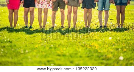 Legs of a group of people
