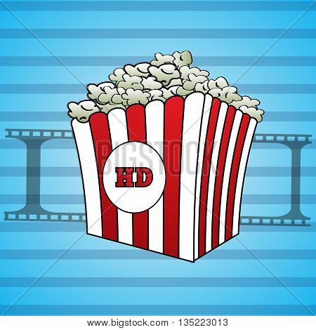 Filmstrips and a popcorn icon hd vector eps 10