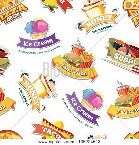 vector seamless pattern with emblems of food illustrations. European, Mexican, Itallian, japan food, ice cream and honey.