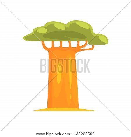 Baobab Realistic Simplified Bright Color Vector Drawing Isolated On White Background