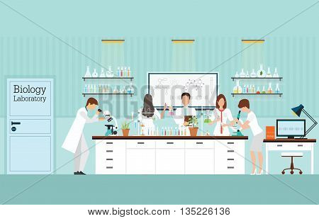 Scientist research and experiments at Biology Science lab interior or laboratory room biology education concept vector illustration.