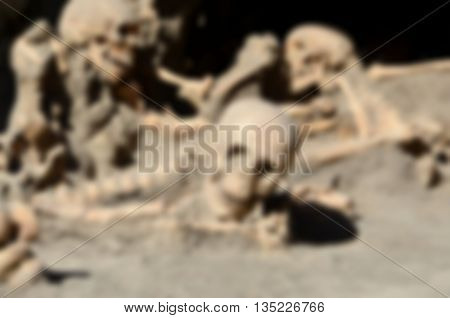 Blurred Defocused Skulls Of Long Time Ago Dead Men In The Ruins Of Ercolano Italy
