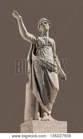 Ancient Leto sculpture. In Greek mythology Leto is a daughter of the Titans Coeus and Phoebe the sister of Asteria and the mother by Zeus of Apollo and Artemis.