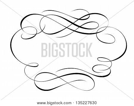 Vector calligraphy penmanship ornamental deco frame pattern