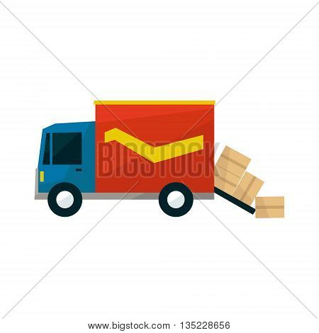 Long Distance Cargo Truck With Boxes Falling Out Simplified Flat Vector Design Colorful Illustration On White Background