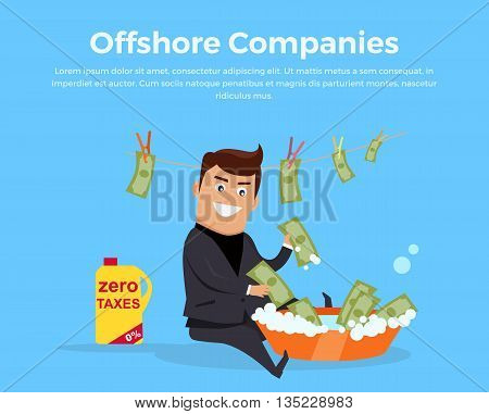 Offshore companies, panamanian documents, jornalistic inestigation. Panama papers folder document. Tax haven offshore company business people owners. Taxes are levied at low rate. Vector illustration