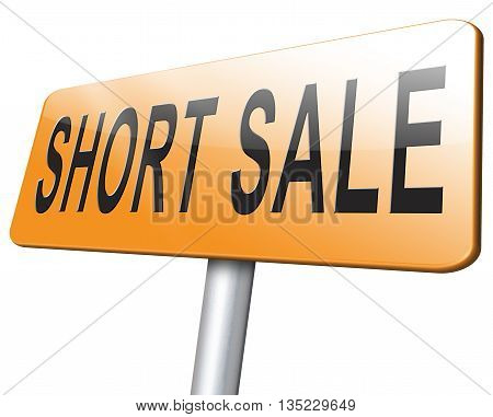 short sale reduced prices sales road sign