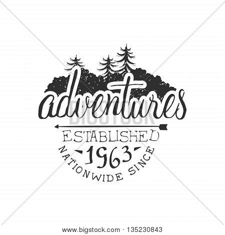 Nationwide Adventures Vintage Black And White Monochrome Vector Design Label On White Background