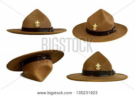 set of brown brim hat (hat of scout) isolated on white