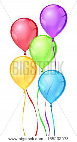 Vector color birthday party balloons. Balloon birthday, celebrate bithday, balloon air ribbon, helium balloon rubber, ball air illustration