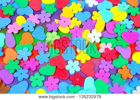 stars and cherish from moosgummi as image background