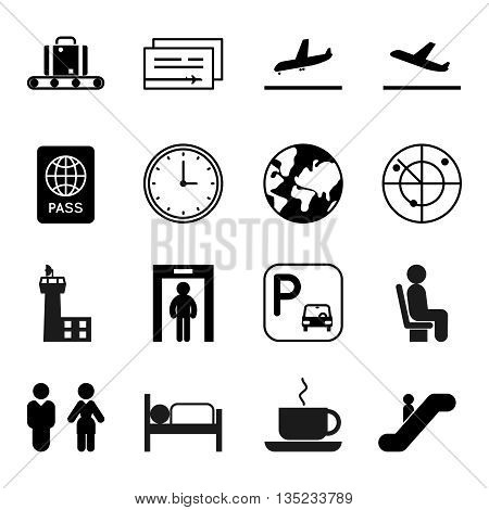 Airport and traveling vector icons. Airport travel icon, airplane travel icon, globe and luggage icon, transportation air icon illustration