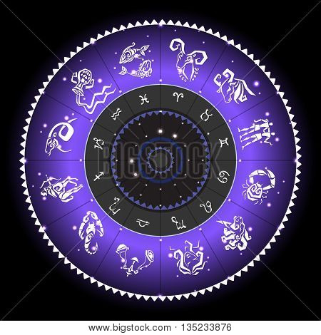 Zodiac sign. Vector hand drawn illustration. Zodiac circle with horoscope signs