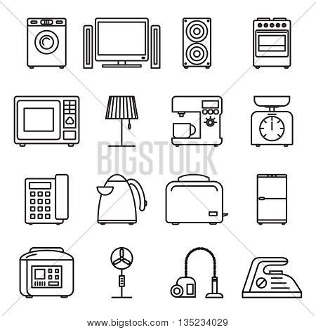 Thin line home appliances icons, household outline icons. Stroke vector household appliances signs.. Appliance household, machine equipment appliance, kitchen appliance illustration