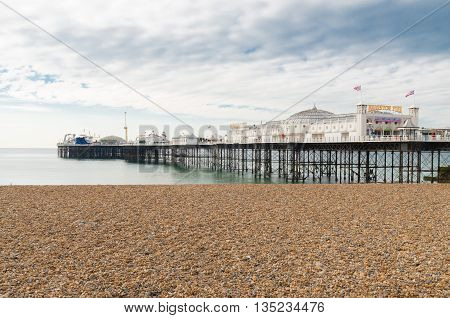 BRIGHTON UK - OCTOBER 20 2015: The brighton marine palace and pier one of the main attractions of the city. Since 1971 it's listed as a national monument