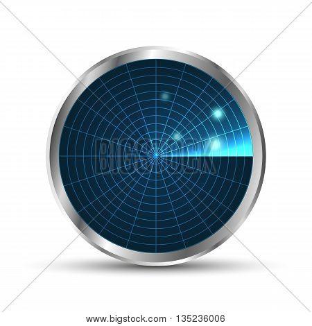 Radar icon. Illustration on white background for design.Vector EPS10. Radar monitor with scanning. Vector illustration