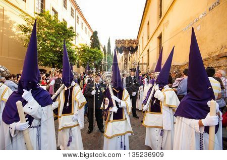 Cordoba, Spain - April 20, 2011: The extraordinarily Christian procession of the Semana Santa, Holy Week, in Cordoba, Andalusia, Spain on 20th of April, 2011.