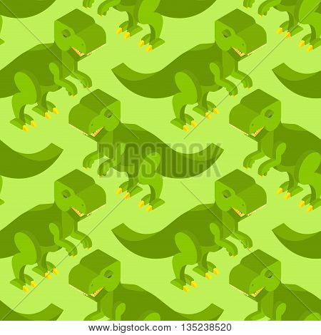 Tyrannosaurus Isometric Texture. Dinosaur Seamless Pattern. Prehistoric Monster With Teeth. Ancient