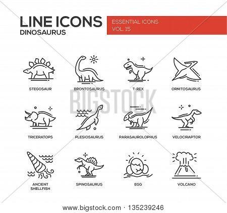Set of modern vector plain line design icons and pictograms of dinosaurs species, prehistoric age life. Stegosaur, t-rex, brontosaurus, ornitosaurus, plesiosaurus, triceratops, velociraptor, spinosaurus poster