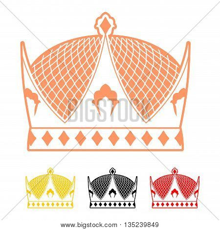 Crown flat style icon. Headdress symbol of monarchical power. Sign emperor Hat