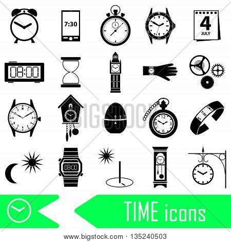 Time Theme Modern Simple Icons Set Eps10