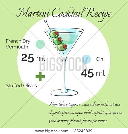 Martini receipt. Martini bartender cocktail vector receipt poster